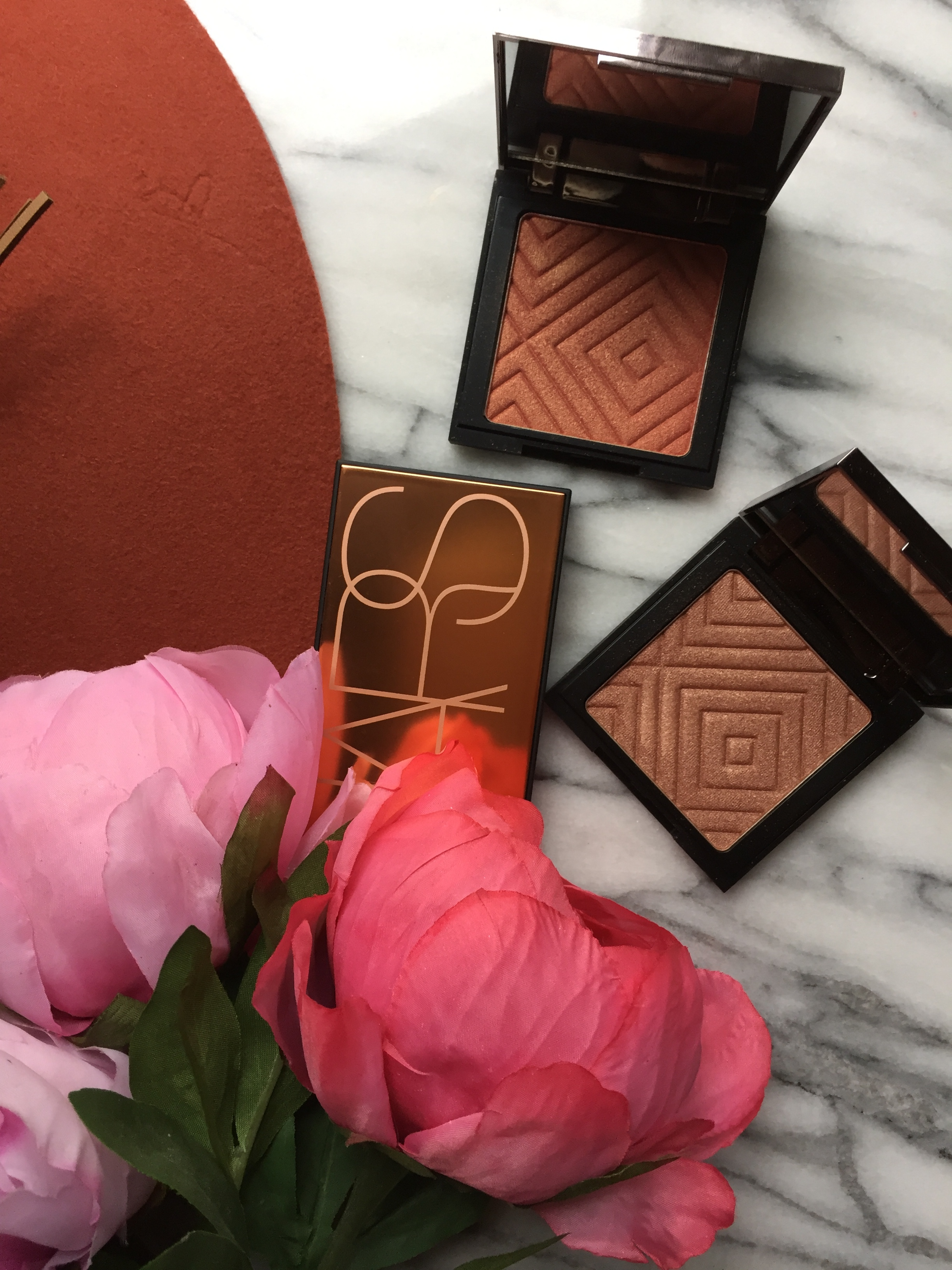 Nars Banc De Sable and Makeup Geek Ablaze and IgniteHighlighters