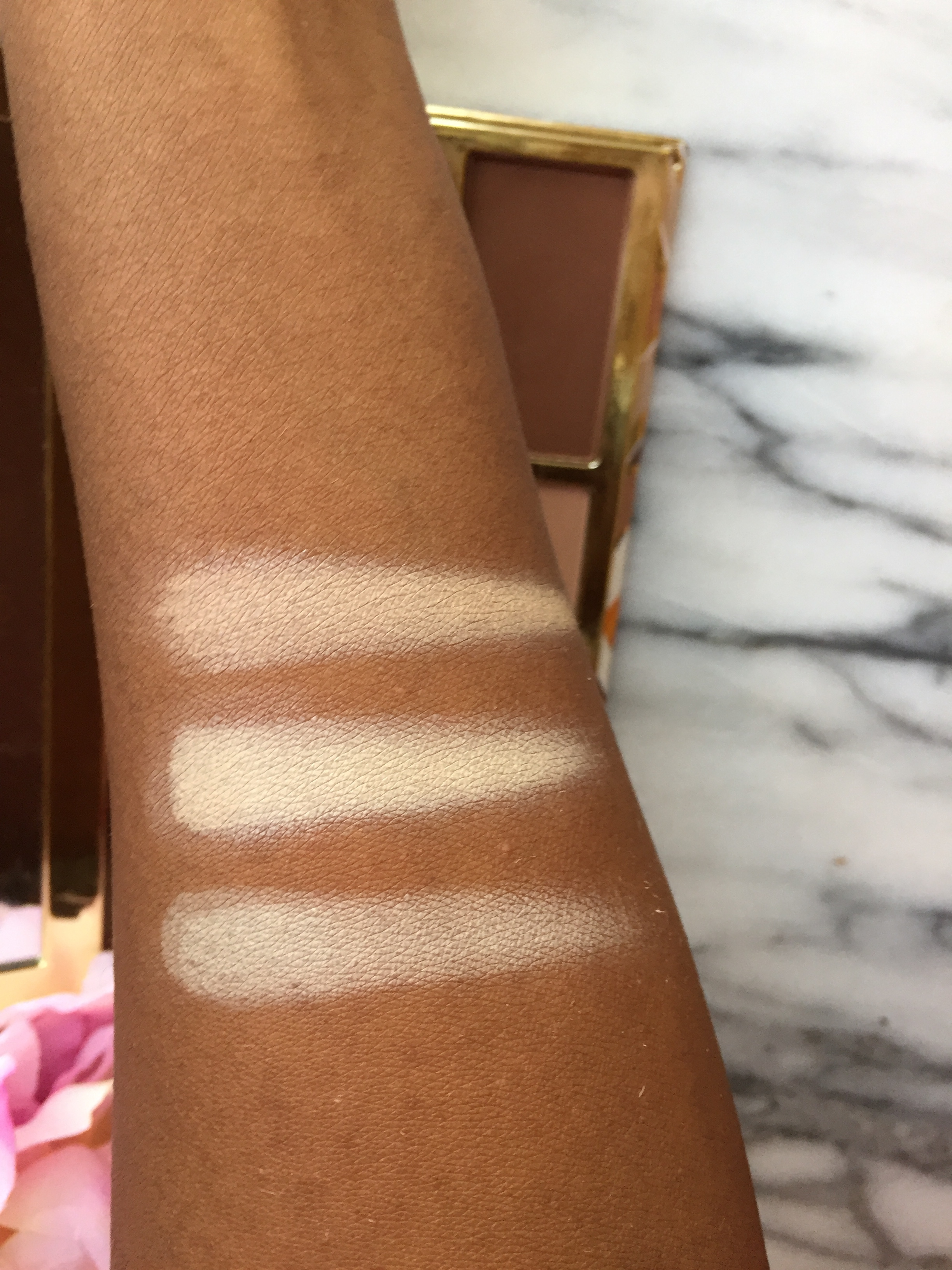 Comparing the 3 Lighter Shades L to R: Solstice, Sand and Instinct