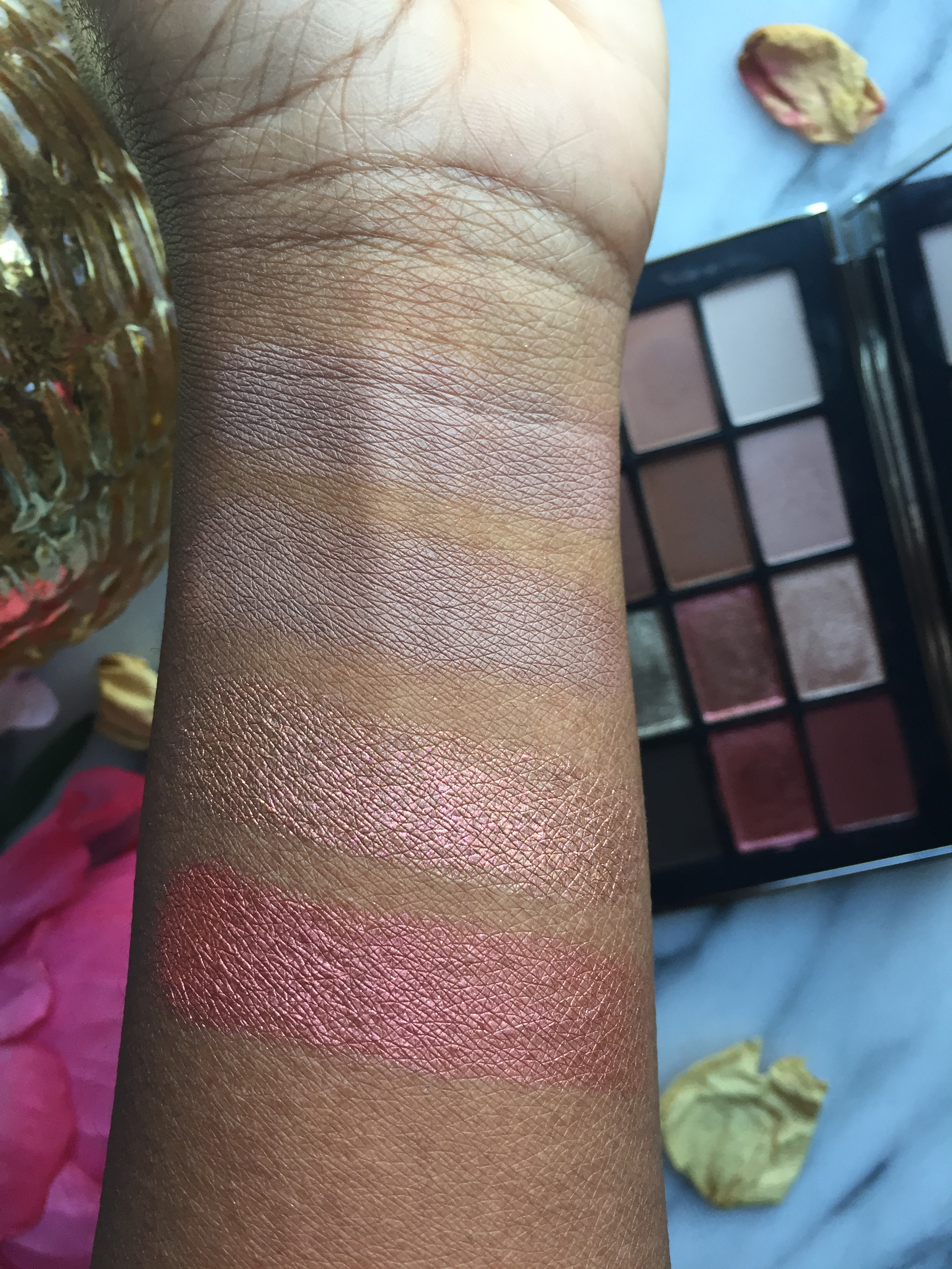 Brush Swatches W/ Primer L to R: Wicked Game, Mendoza, Shadow Hill, Seven Heaven