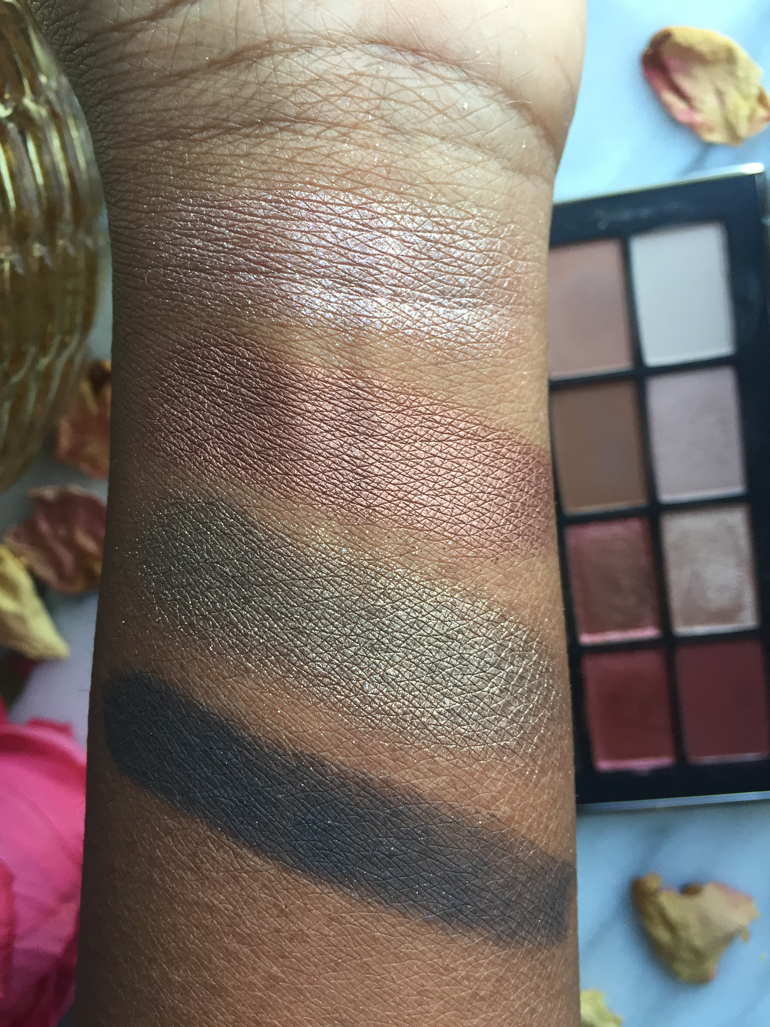 Brush Swatches W/Primer L to R: Coconut Grove, Fallen Star, LaLa, Shooting Star