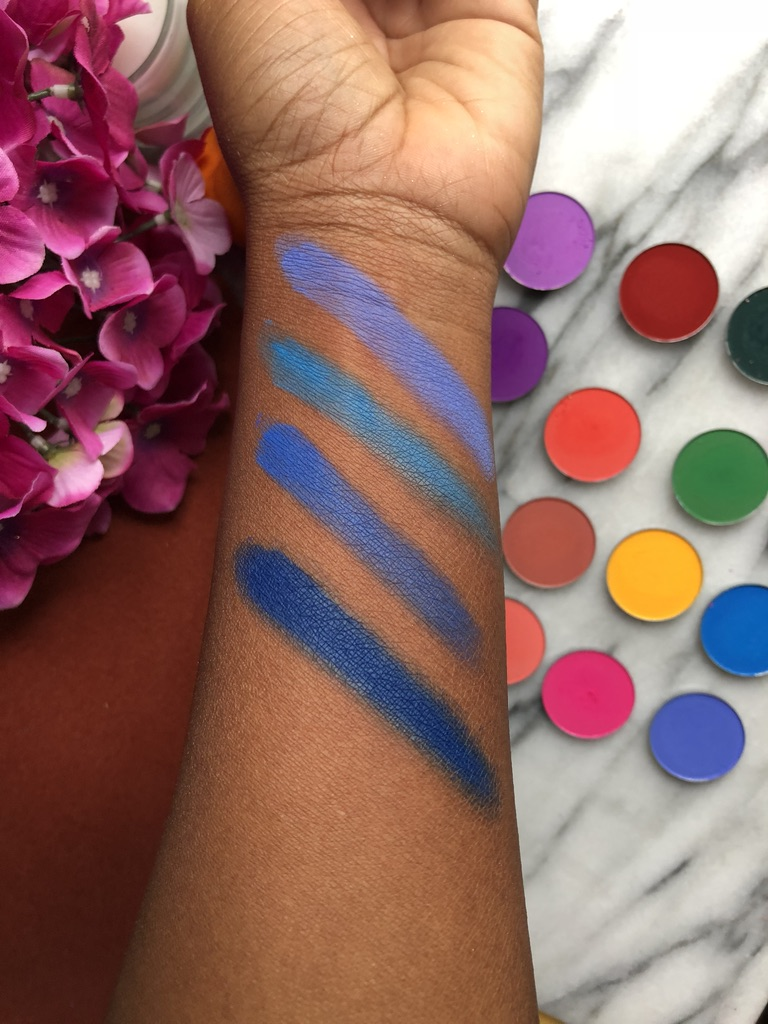 Coloured Raine | L to R: Yacht Life, Neo Blue, Drip Drop and Jet Set