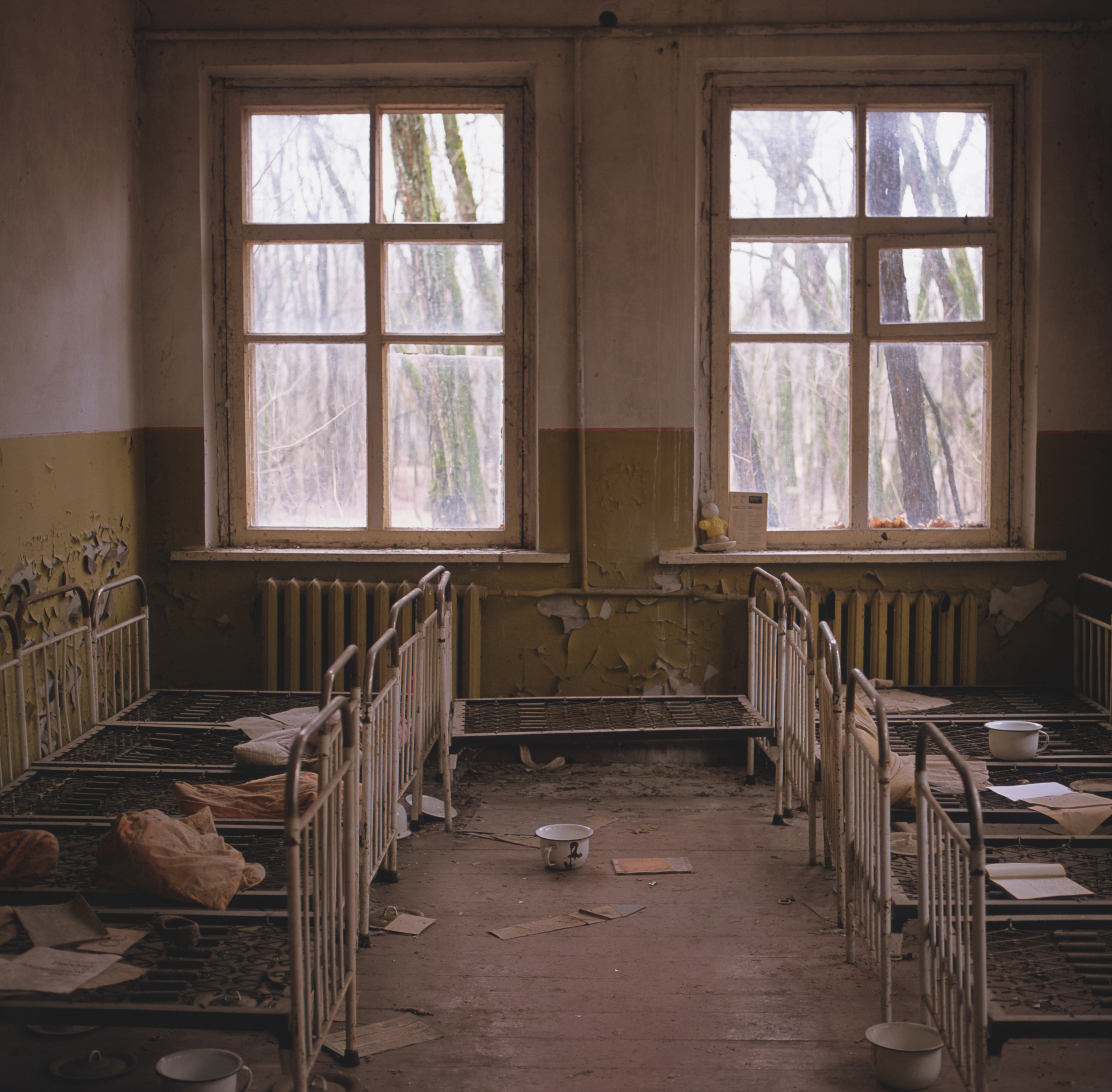 The schoolhouse beds, though the mattresses rotted away, it looked as though people had just left Gf670 + Provia 100f