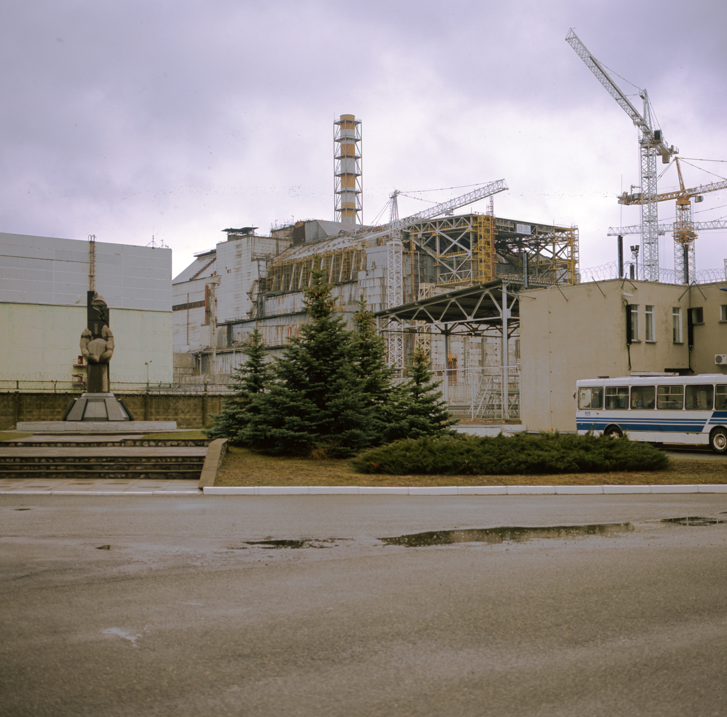 Reactor 4 at Chernobyl, with the sarcophagus. This is as close as you're allowed to get, there is a worker bus for the workers at the right Gf670 + Provia 100f