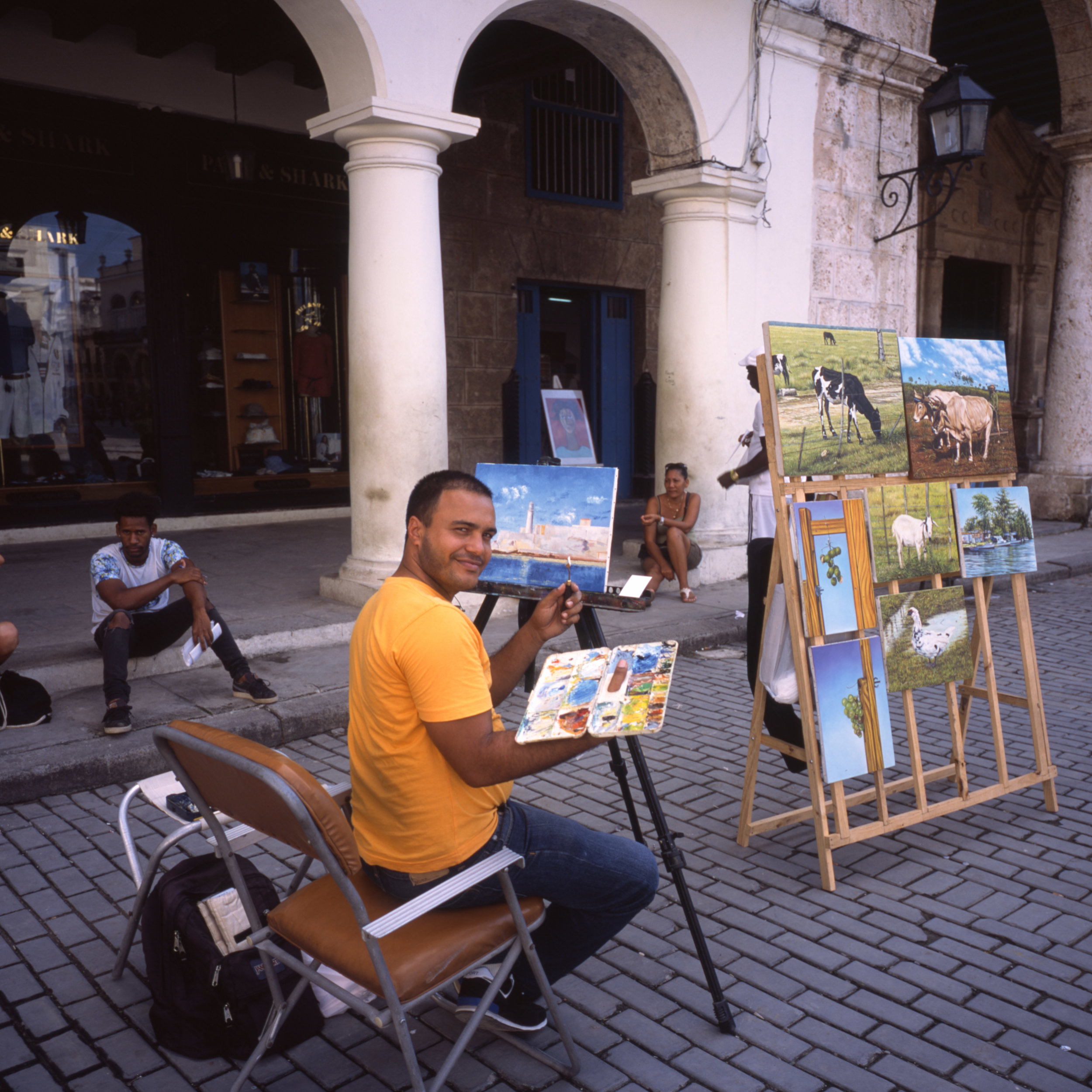 This guy, painting. I gave him an instax photo that is on his easel Fuji GF670 + Fuji Provia 100f