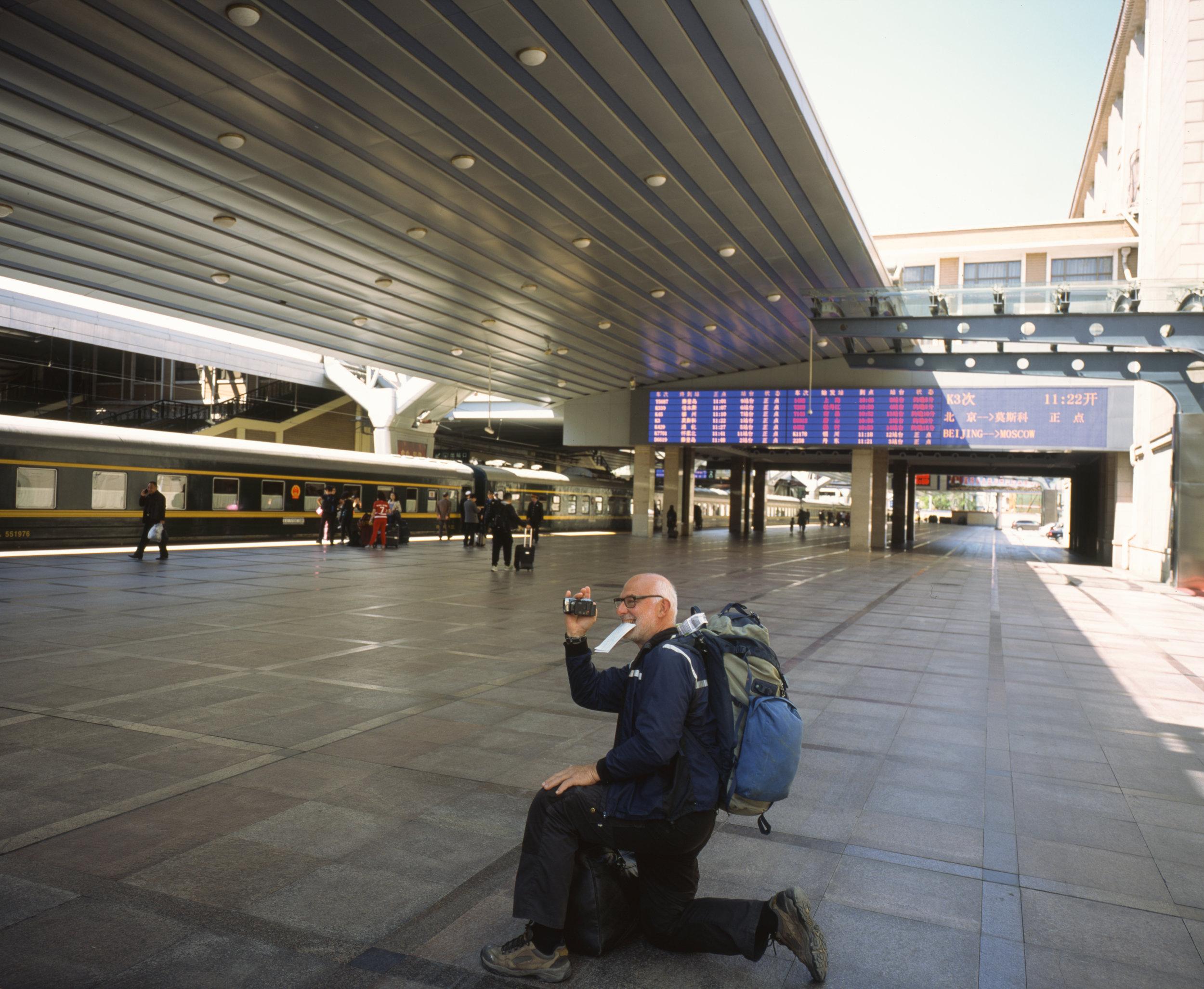 Tourists boarding and our train information in the background Fuji GF670w + Fuji Provia 100f