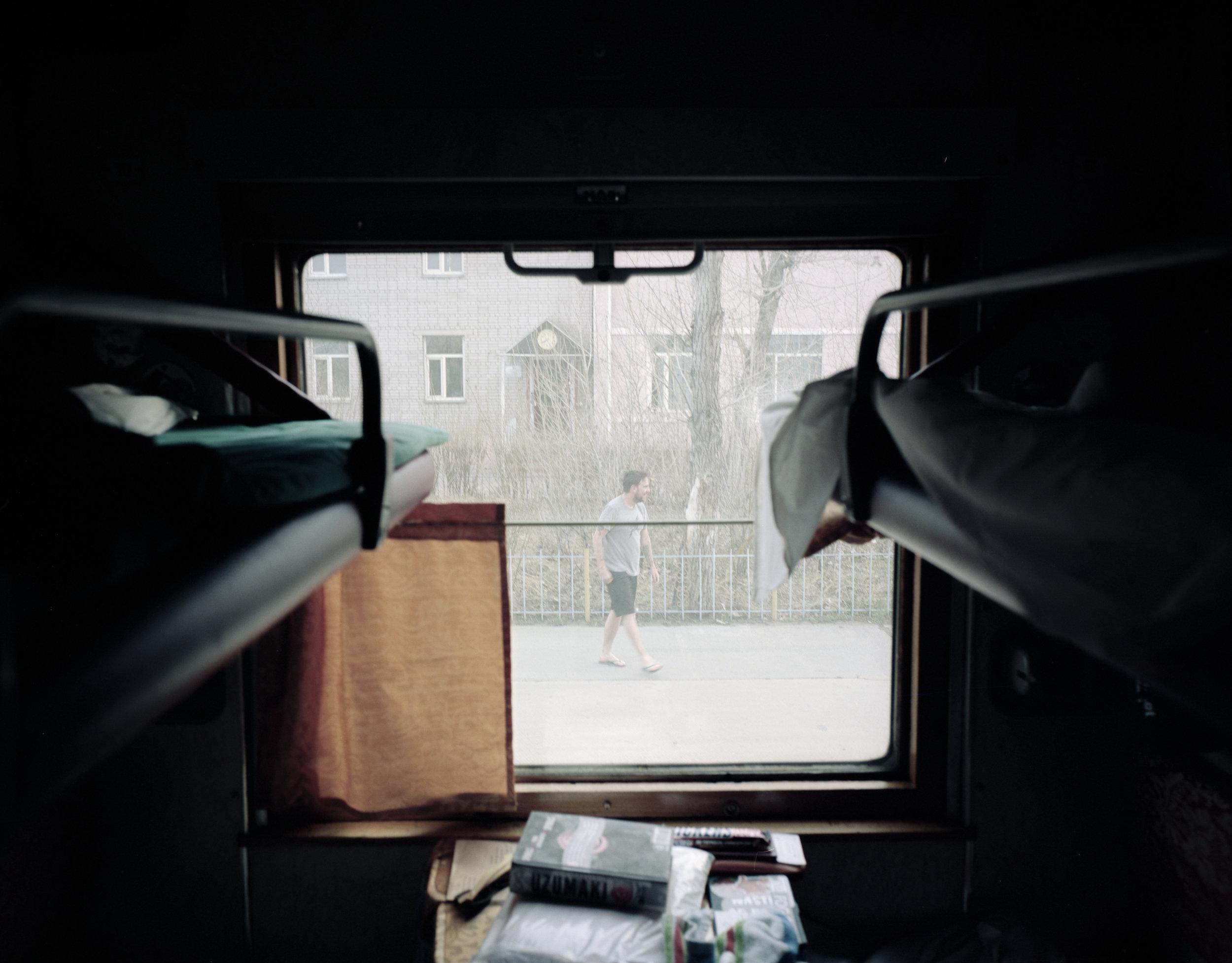 Matt wandering around at the Mongolia border Fuji GF670w   Kodak Portra 400
