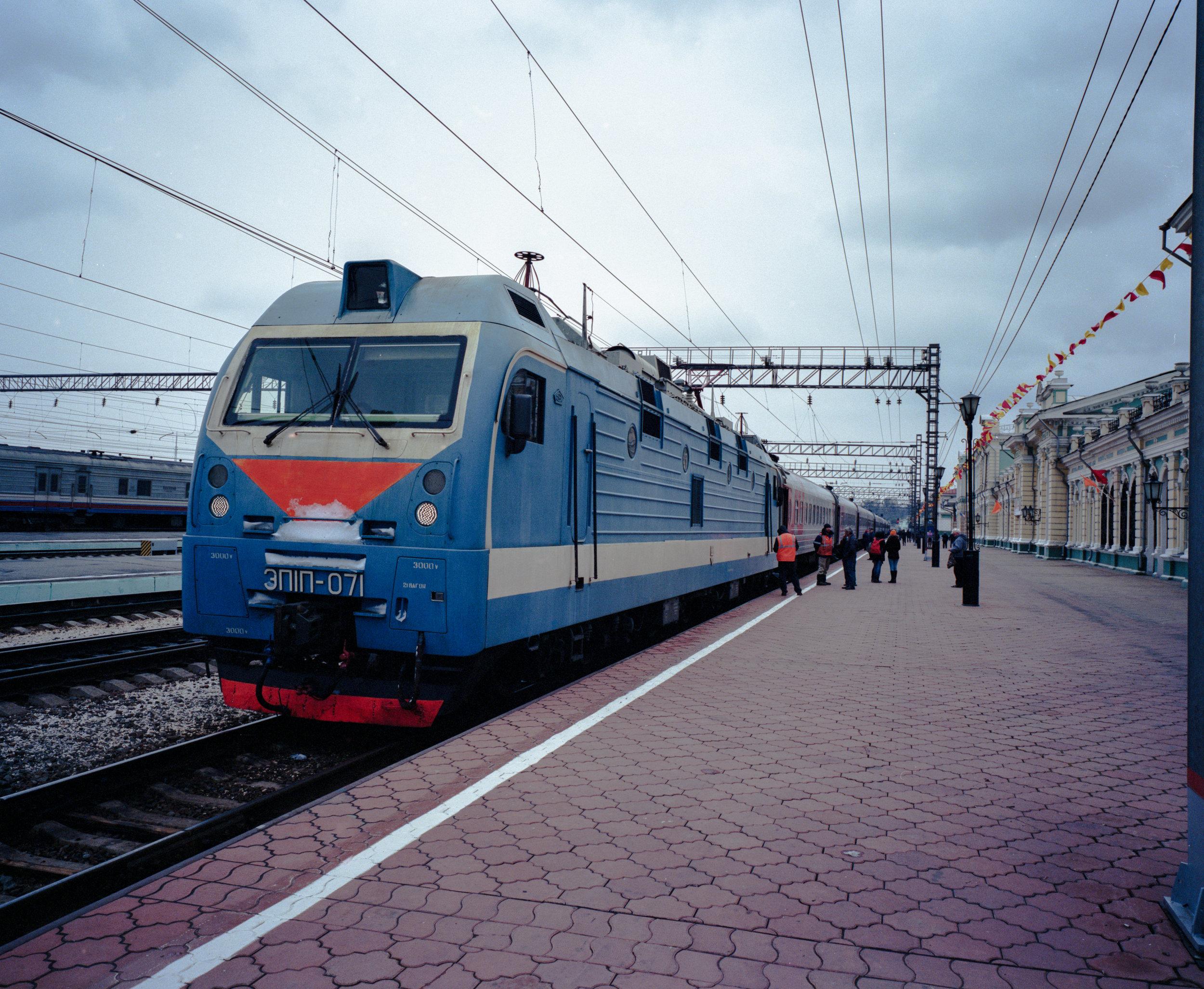 Our train in Irkutsk, 001m Fuji GF670w   Kodak Portra 400