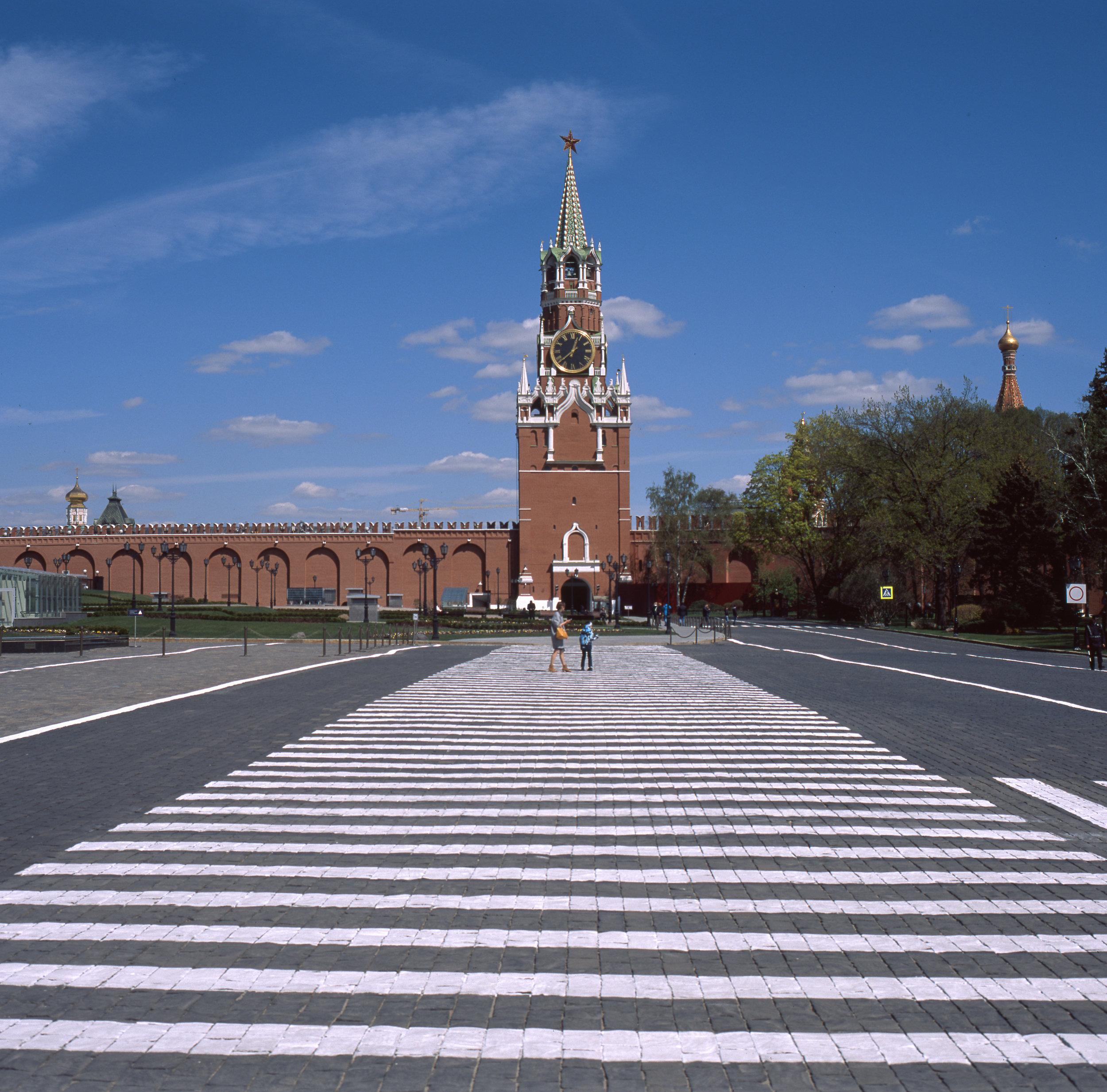A fairly empty Kremlin.Spasskaya Tower Fuji GF670 | Fuji Provia 100f