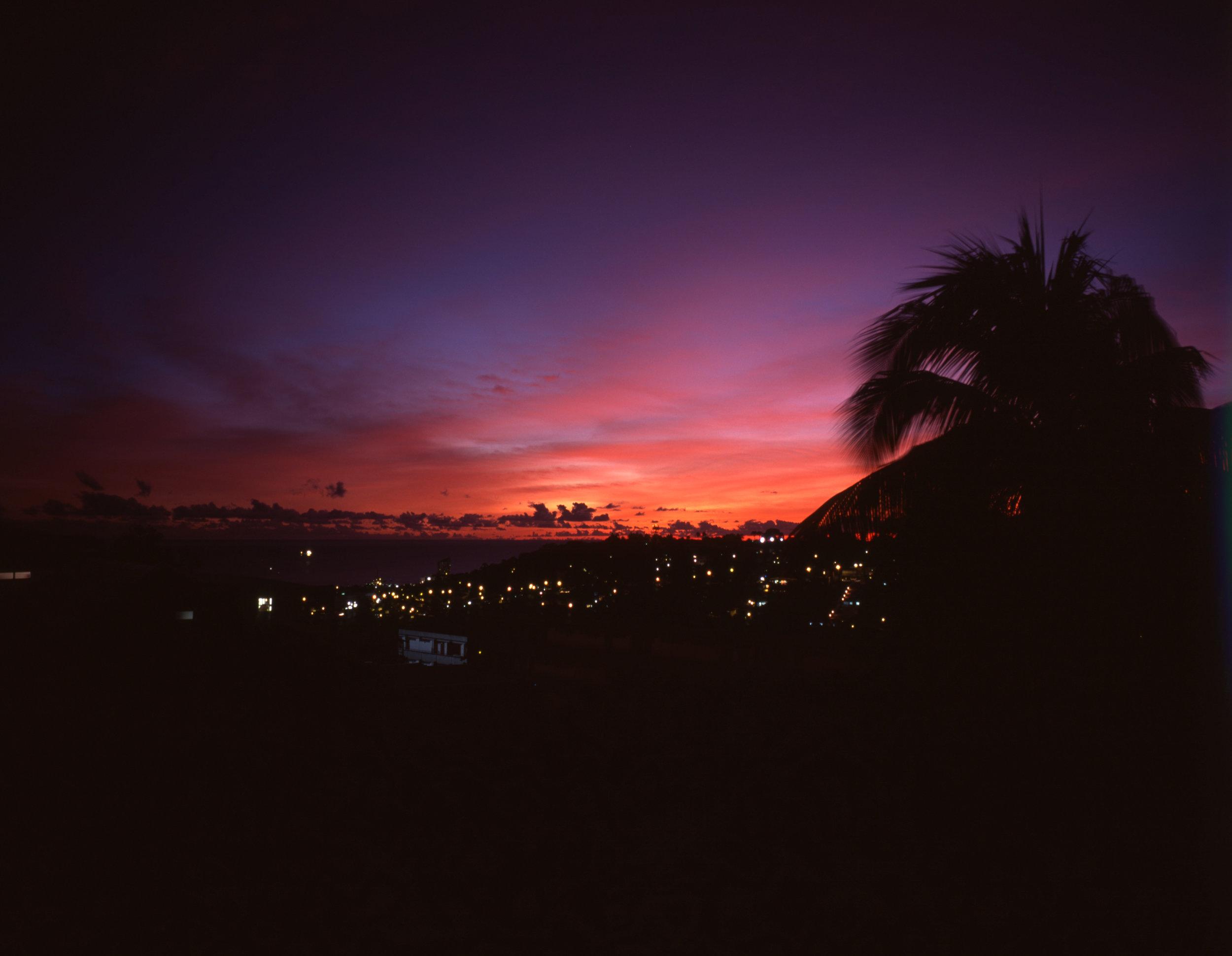 Fort De France Sunset on our last night Fuji GF670w | Fuji Velvia 50