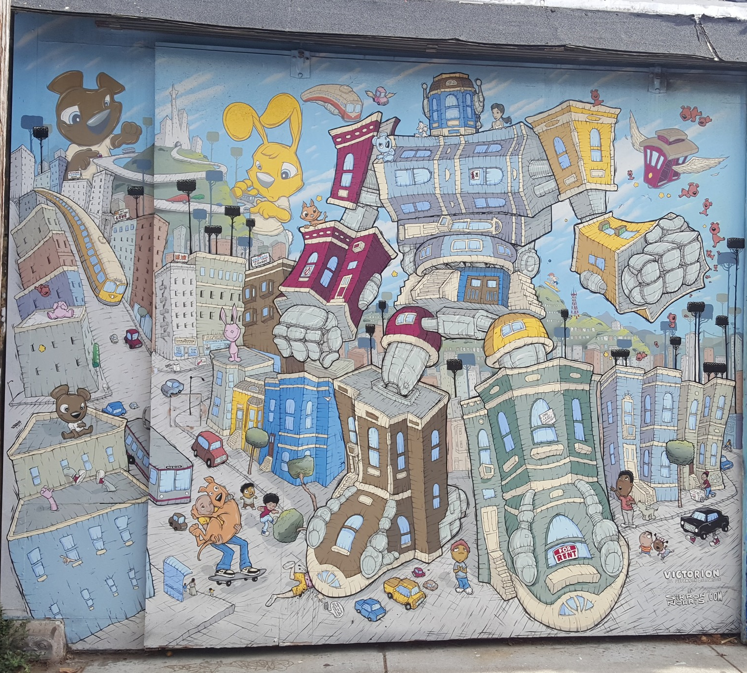 One of my favorite murals that day - Victorian homes during dotcom bubble