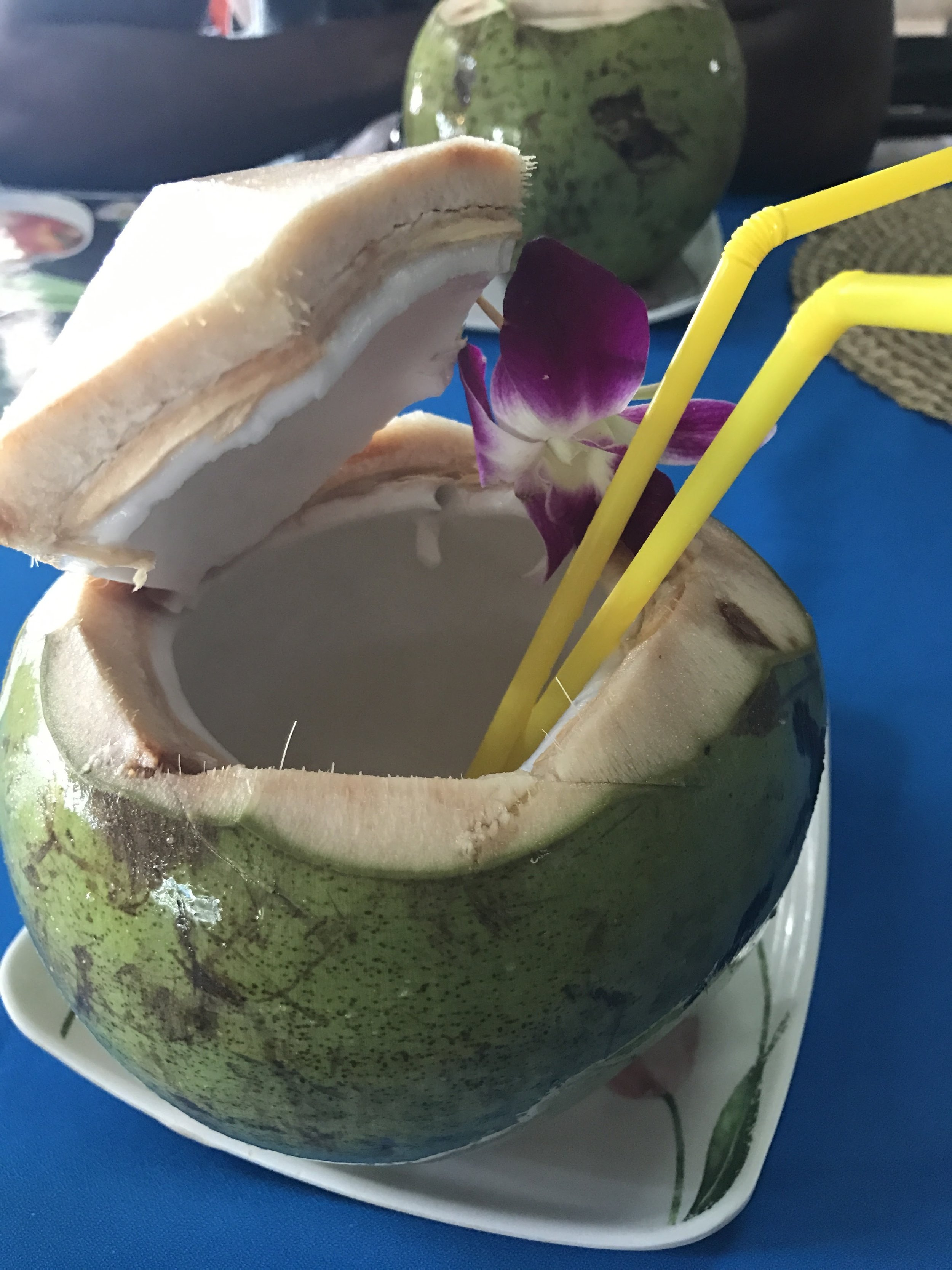 The coconuts are to die for! Here is one that we had at a local restaurant on the beach.
