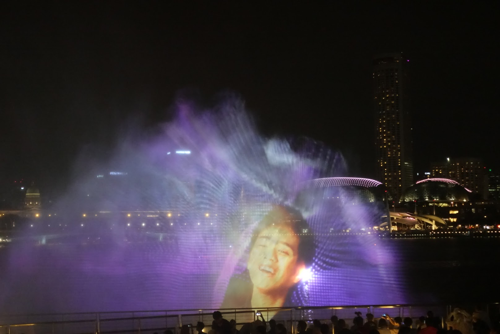 The water show in front of the Marina Bay Sands Shoppes.