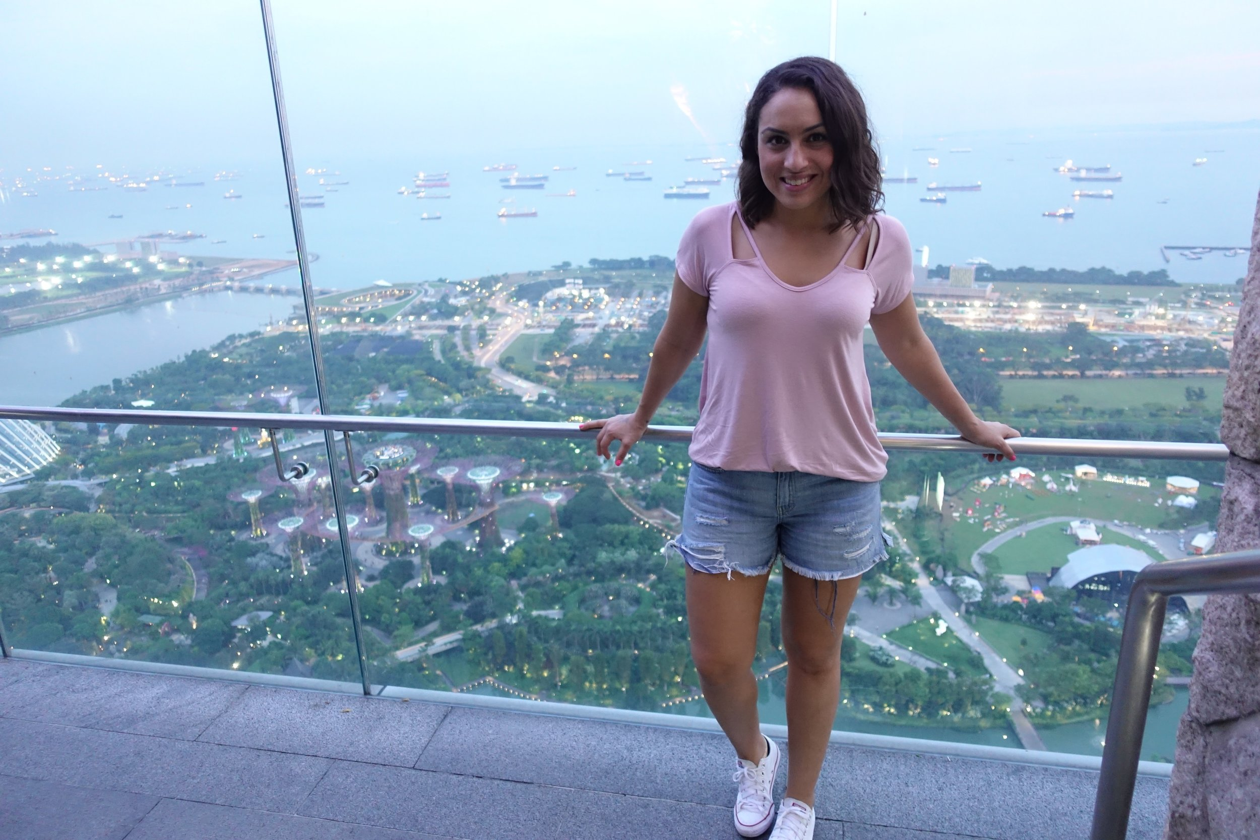 At the rooftop bar: Tee: Charlotte Russe ( similar ) , Shorts: Gap ( similar ), Sneakers:  Converse