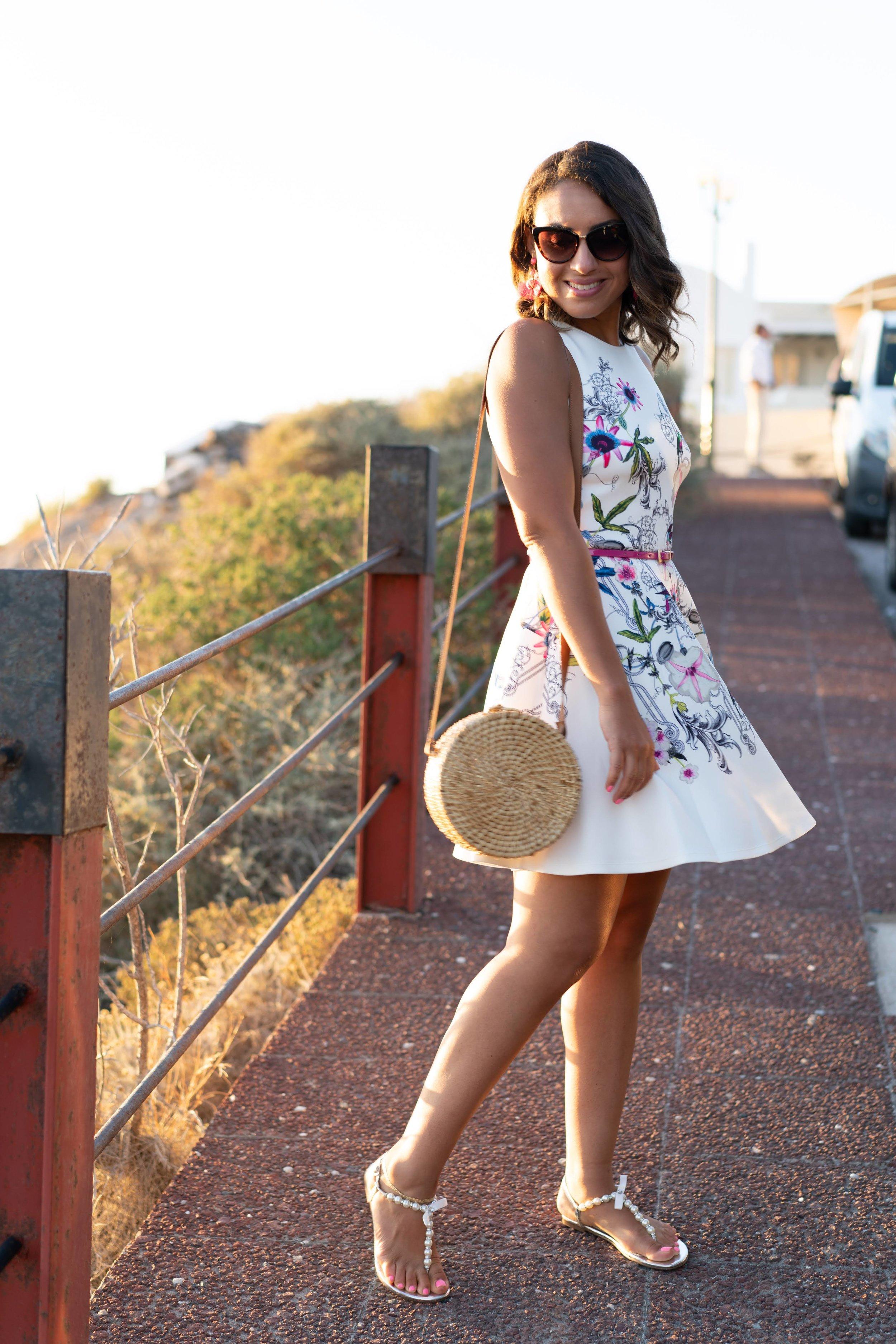Dress: Ted Baker//  Sandals : Betsy Johnson //  Purse : Forever 21 // Earrings //  Sunglasses : Kate Spade