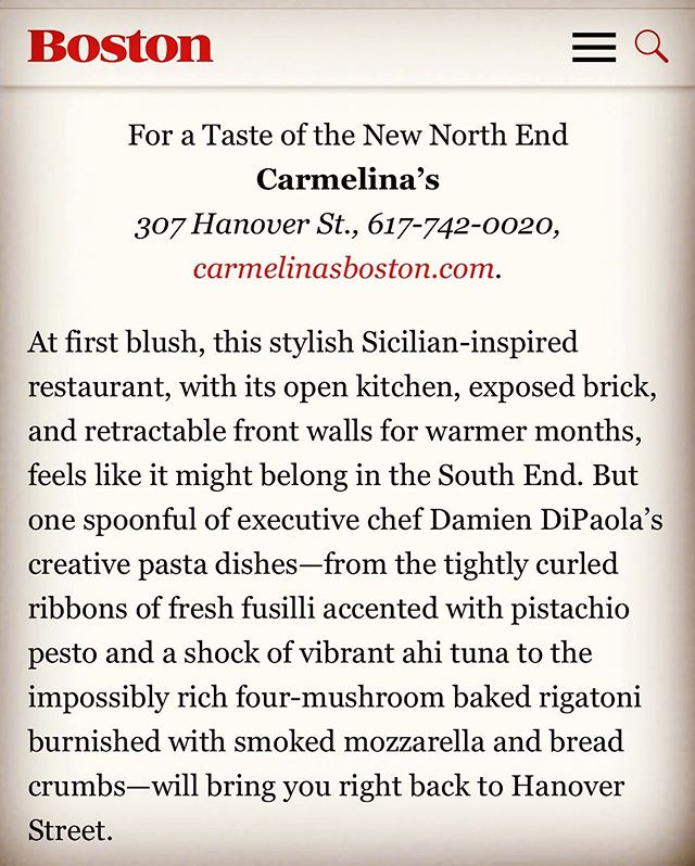 Always an honor to be recognized by @bostonmagazine and named one it the top #northendboston restaurants.