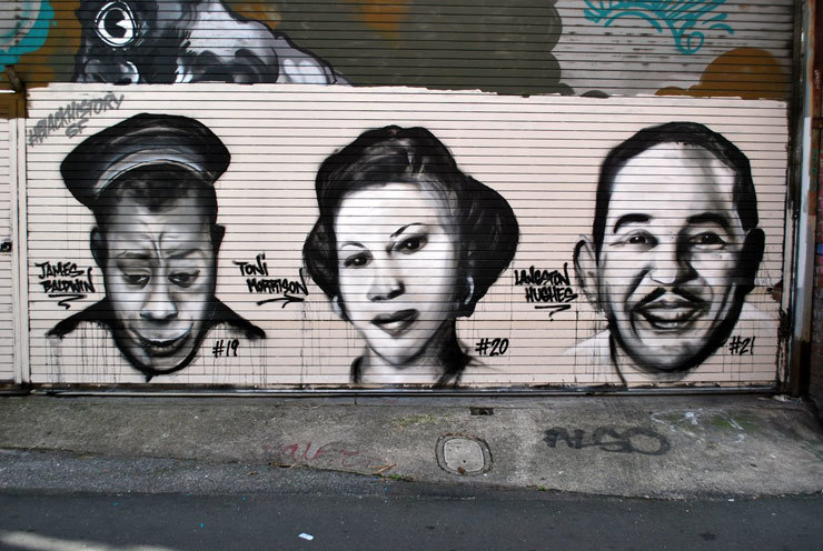 Portraits 19-21 of 29: James Baldwin, Toni Morrison and Langston Hughes
