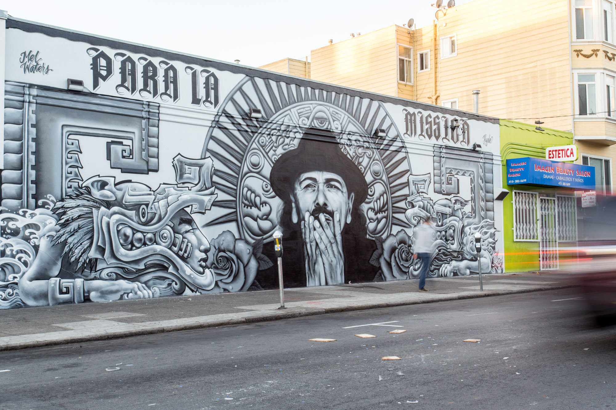 Para La Mission - Carlos Santana Portrait by Mel Waters. Collaboration with Hyde. 19th Street at Mission Street, 2015.