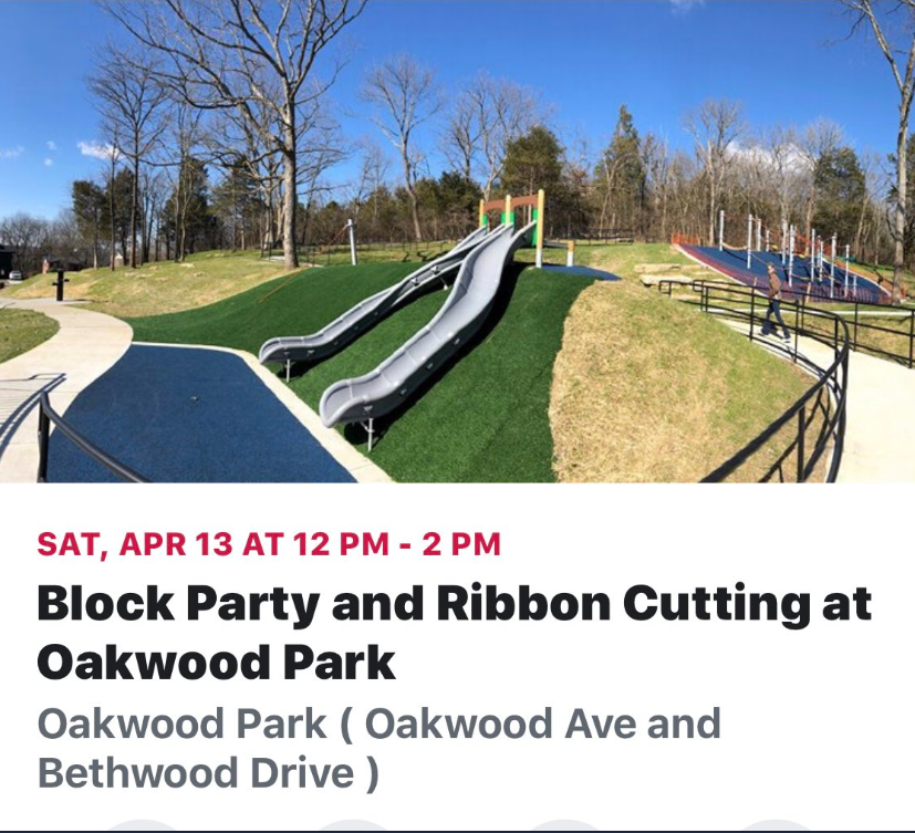 After several community meetings and input, and after incredible construction and design implementation, the million dollar upgrades to Oakwood Park will be celebrated!  Join the new  Friends of Oakwood Park  for a block party with music and food trucks Noon- 2pm.  Join  Councilmember Nancy VanReece - NVR4District8  and  Mayor David Briley  with  Metro Nashville Parks and Recreation  Director, Monique Odom for the ribbon cutting at 1:30 pm   FACEBOOK EVENT