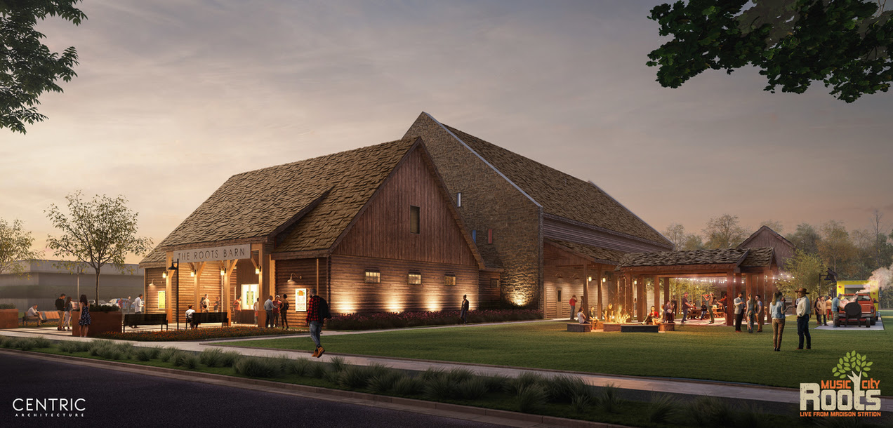 the ROOTS Barn at night (Rendering July 10, 2019)