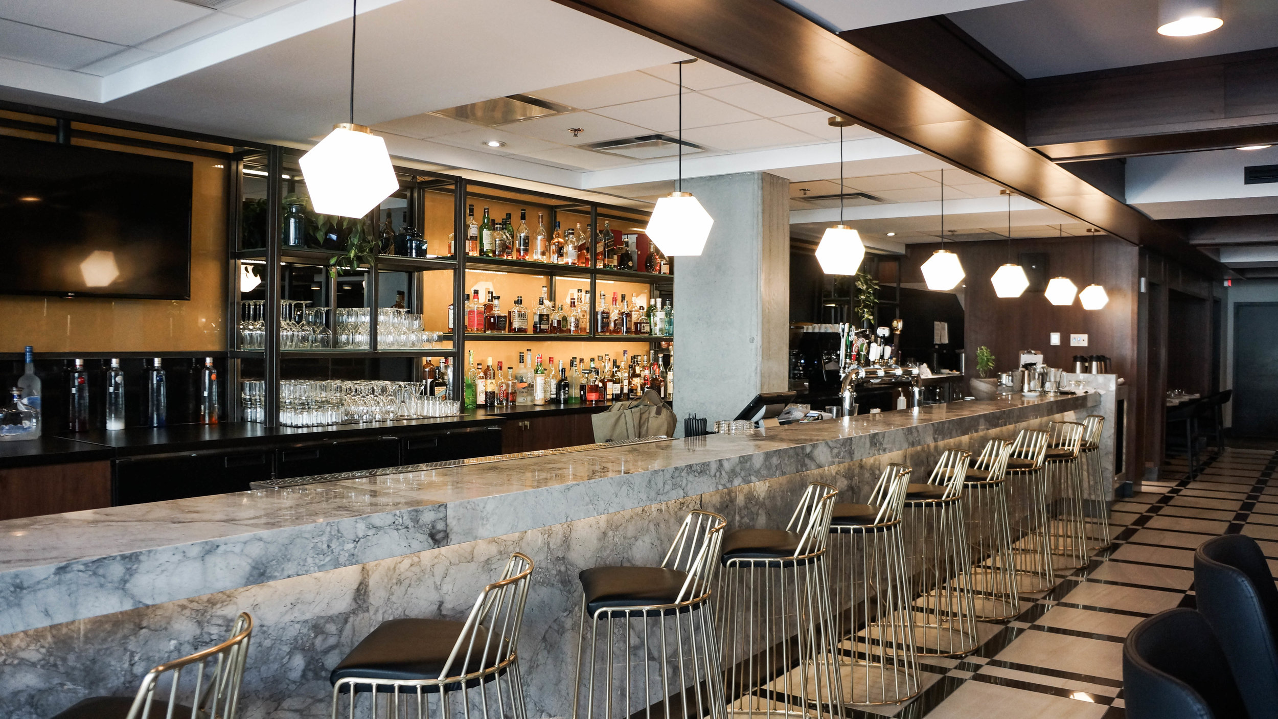 The marble bar at Maggie Oakes