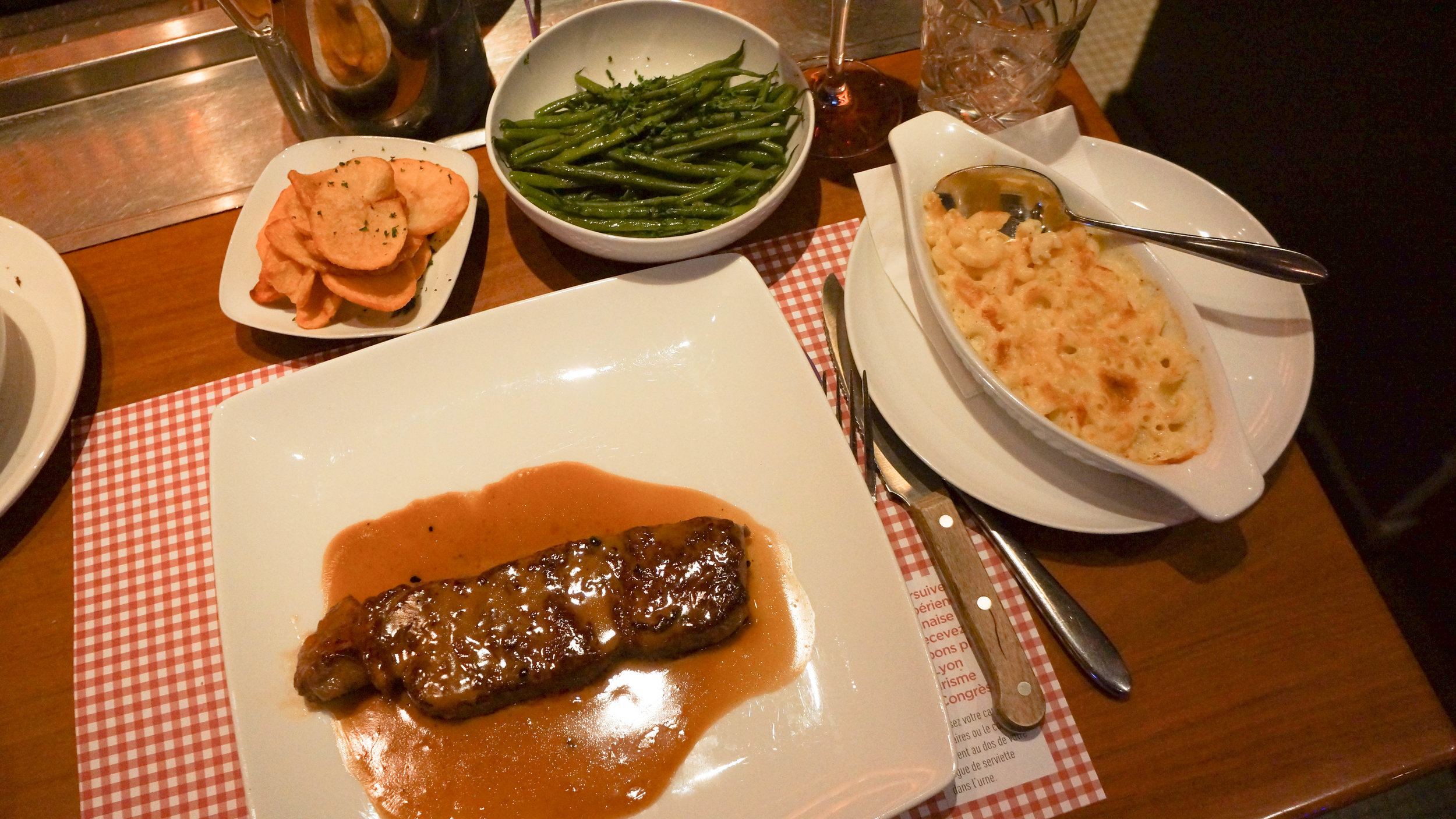 Beef sirloin steak, flambéed with cognac and doused in a black peppercorn sauce