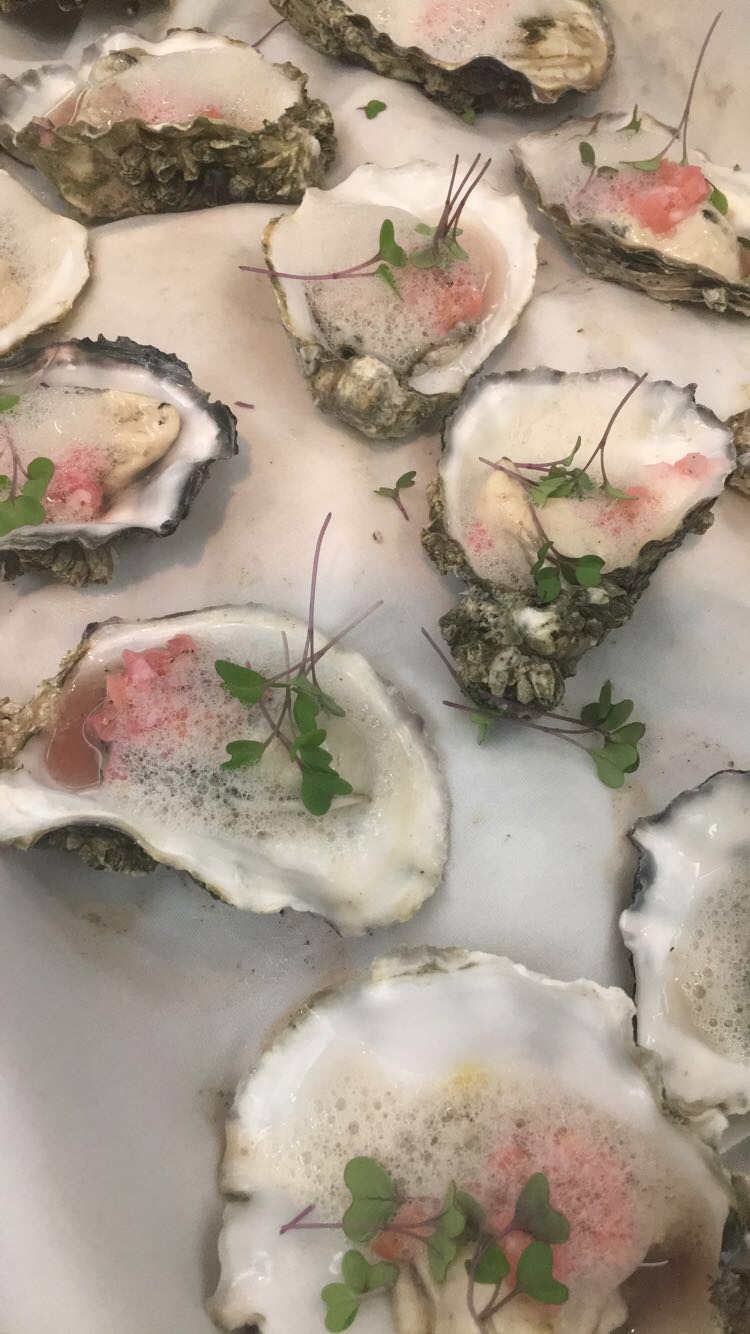 Osoyoos Oyster Festival Gala at Spirit Ridge - Lightly Poached Oysters with Pickled Rhubarb Mingonette, Ambrose apple and star anise foam!