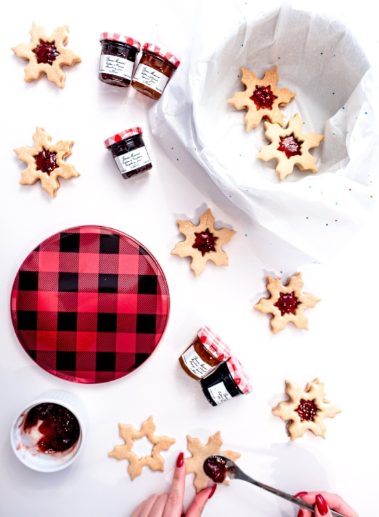 Peek a boo jam filled shortbread snowflakes