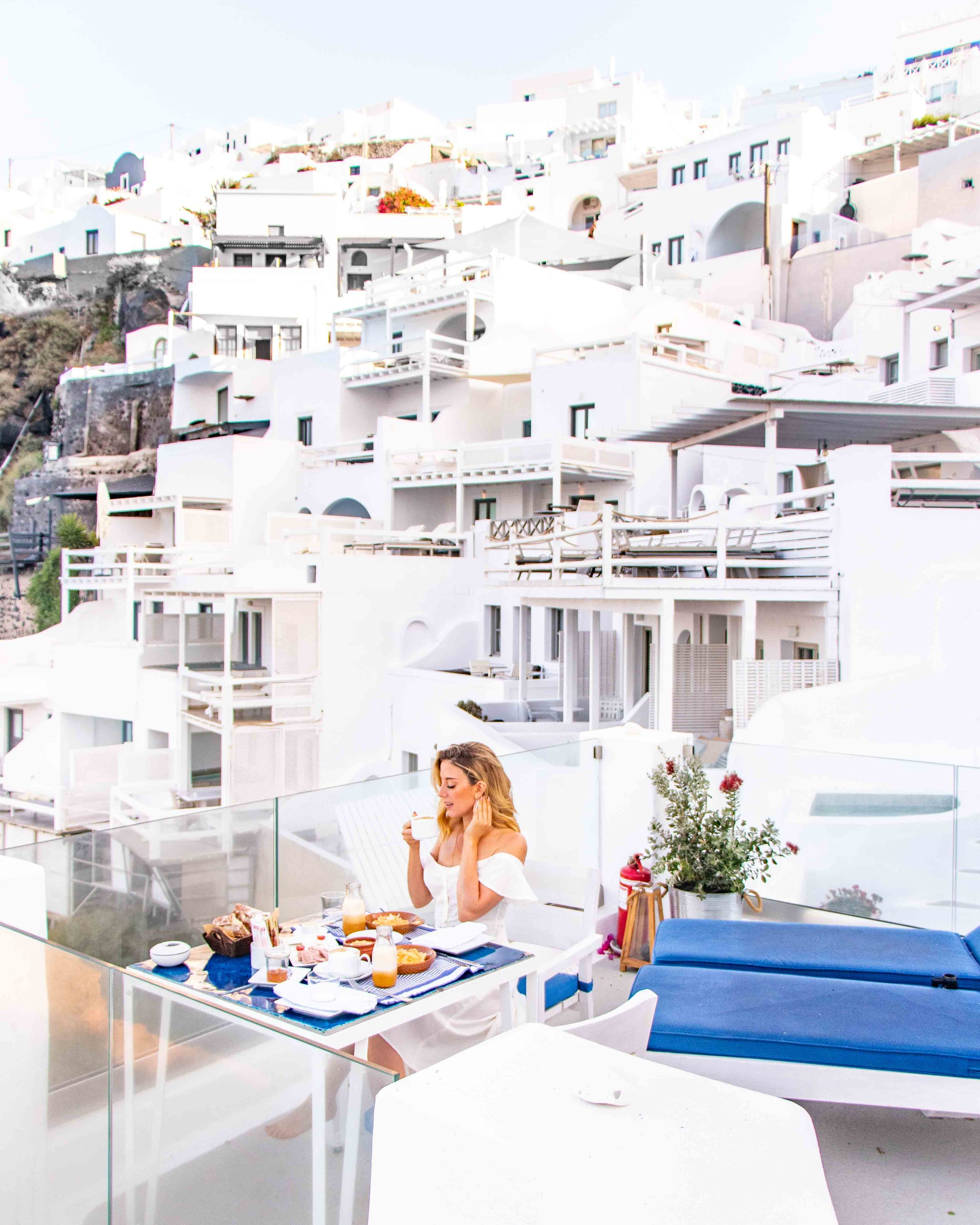 Enjoying breakfast at my hotel - Iconic Santorini