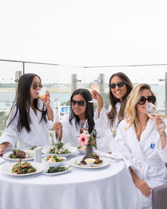 The girls and I hanging on my room balcony enjoying some rose and in-room dining !  Left to Right   @SincerelyKN ,  @theCuriousCreature ,  @DineandFash , Me