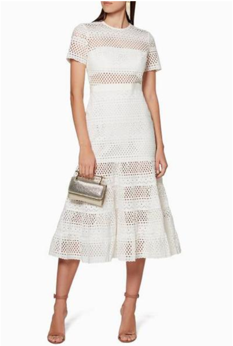 Self Portrait Bea Broderie Eyelet Midi Dress