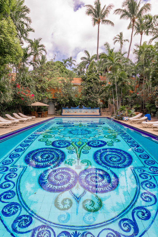 The gorgeous mosaic pool at Graycliff Hotel in Nassau