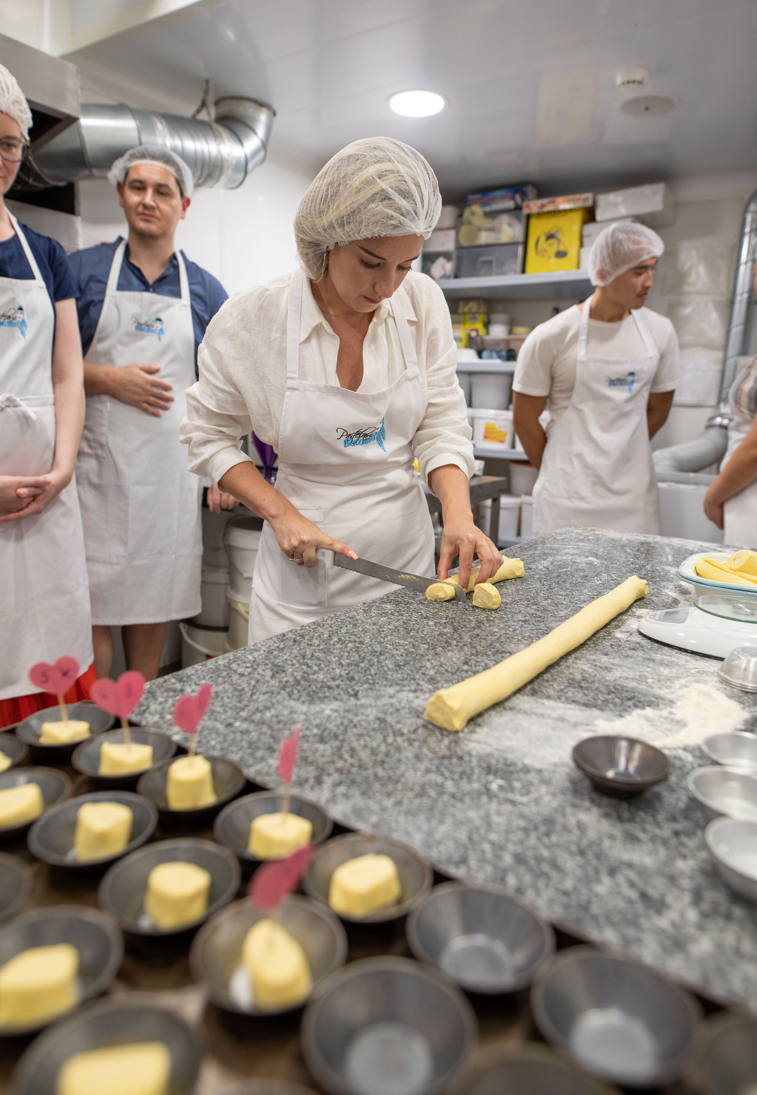 Me Cutting the dough, learning to make Pastel De Nata