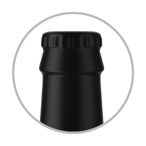 Bottle cap with plastic shrink wrap   matte, semi-matte or glossy finish