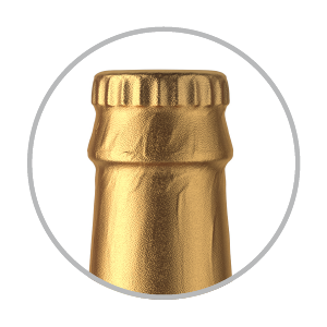 Bottle cap with foil   smooth or textured finish