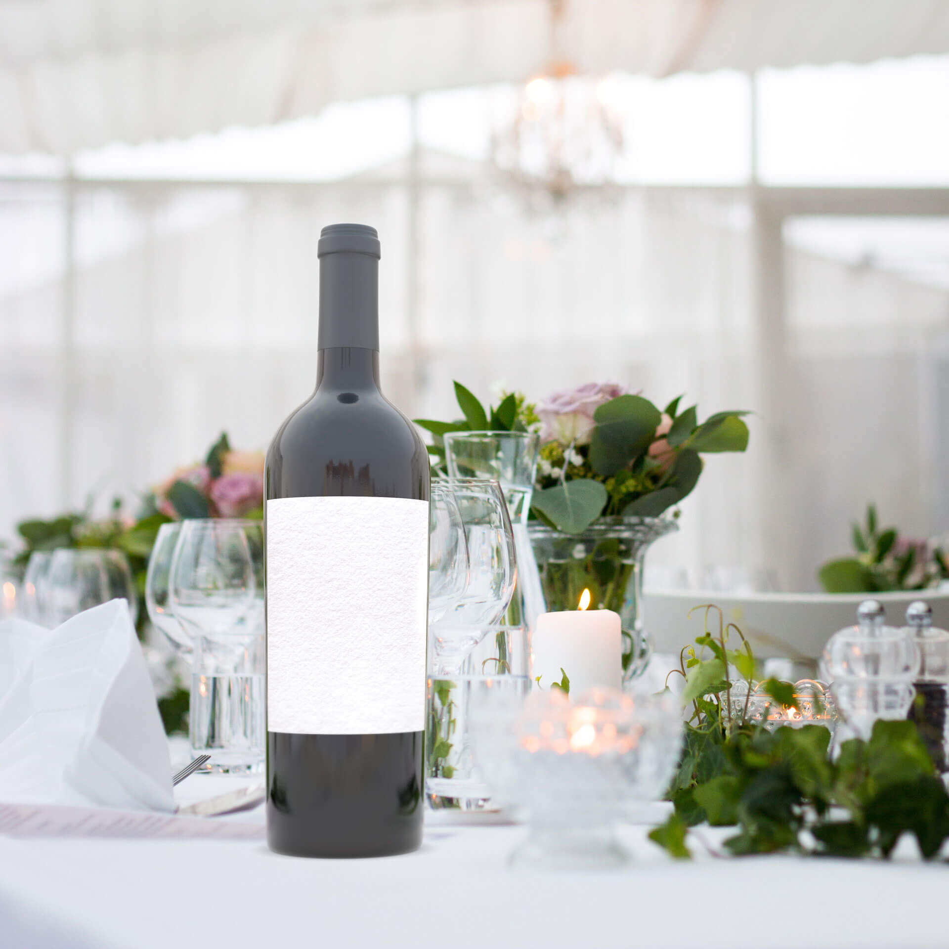 White table with candles