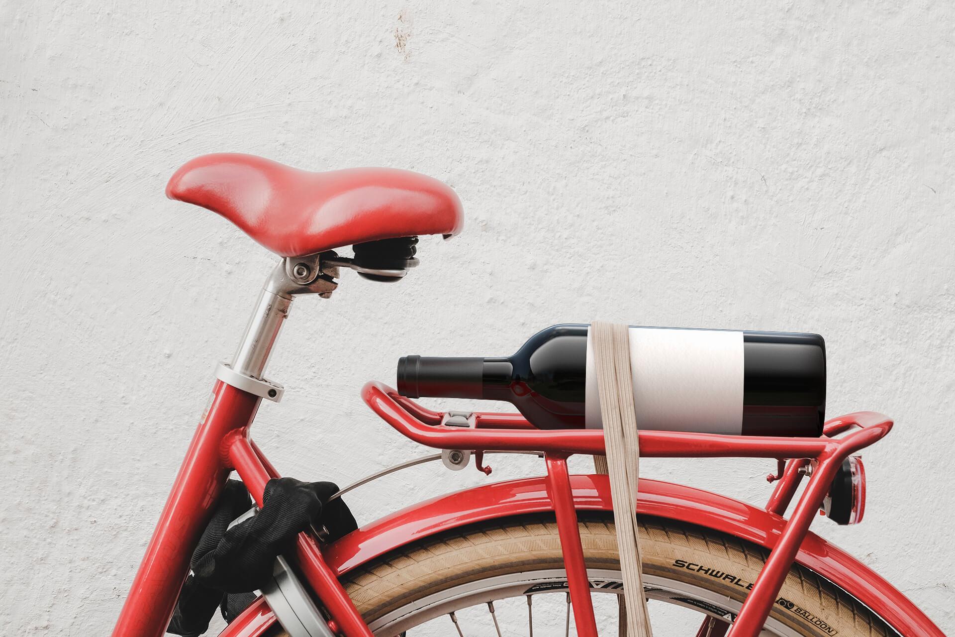 On a red bike