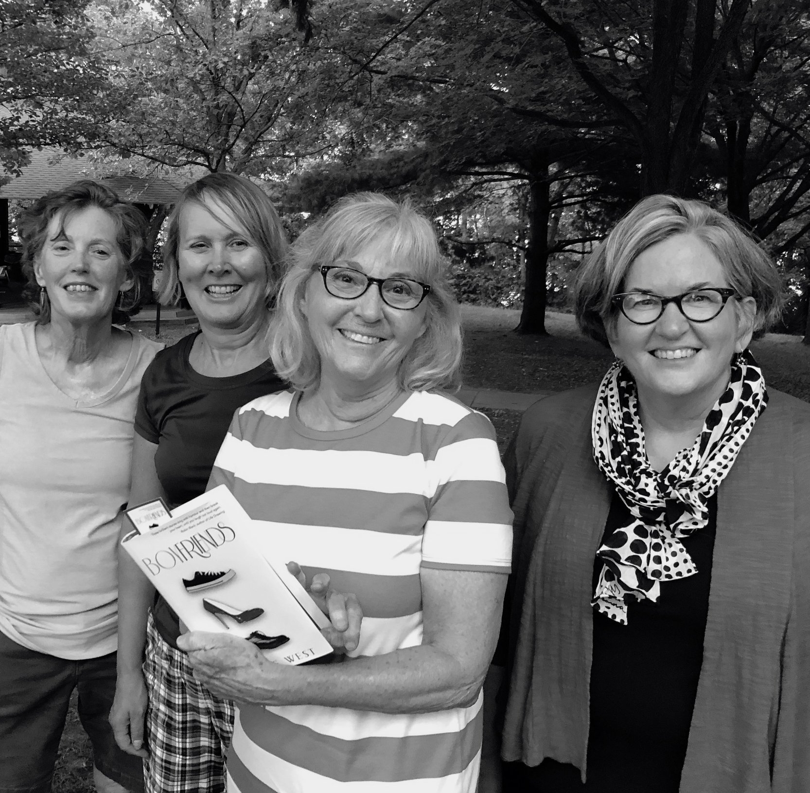 Bonnie with a copy of Boyfriends, attending an outdoors book club... can't see that catching on in England!