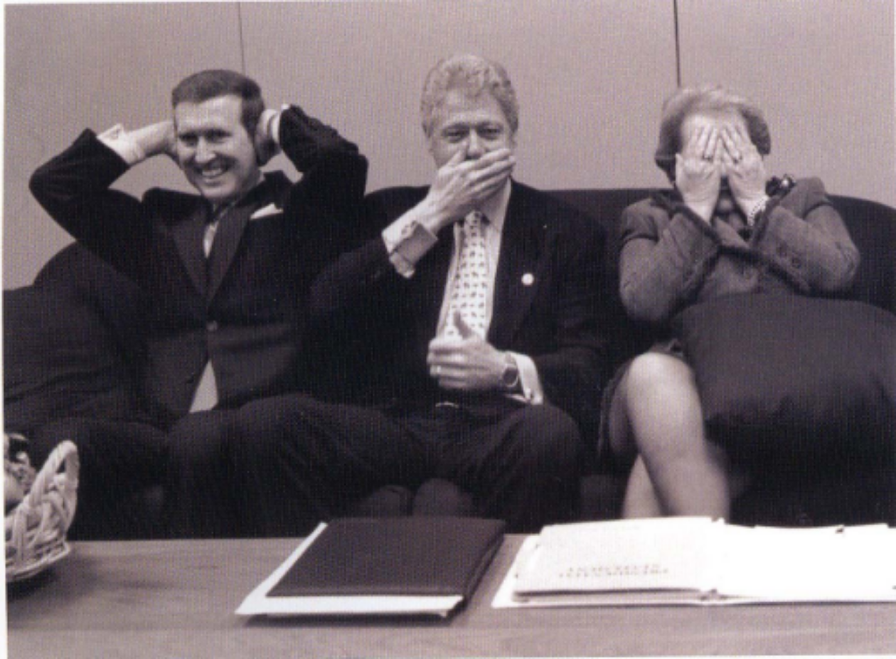 Former Defense Secretary Cohen, Former President Clinton, and Former Secretary of State Albright. - Photograph by Diana Walker