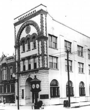 The First National Bank of Tuscaloosa Circa 1920. This was where the five founding fathers of the Alpha Kappa Chapter were initiated