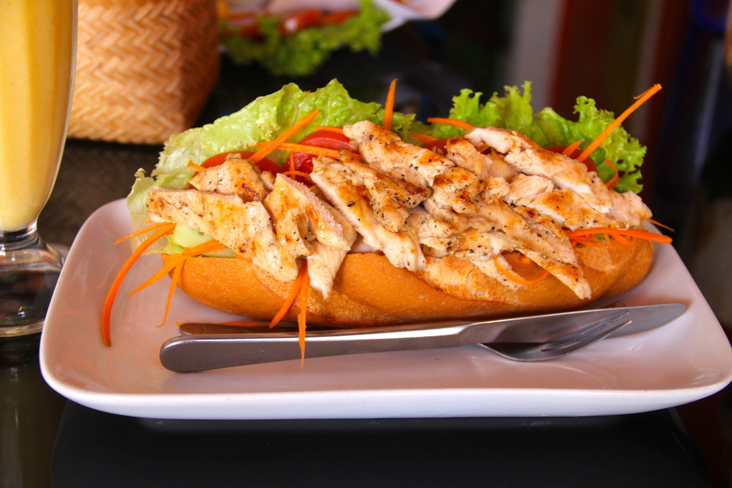 Chicken Sandwich, Noy's Fruit Heaven, Vientiane, Laos