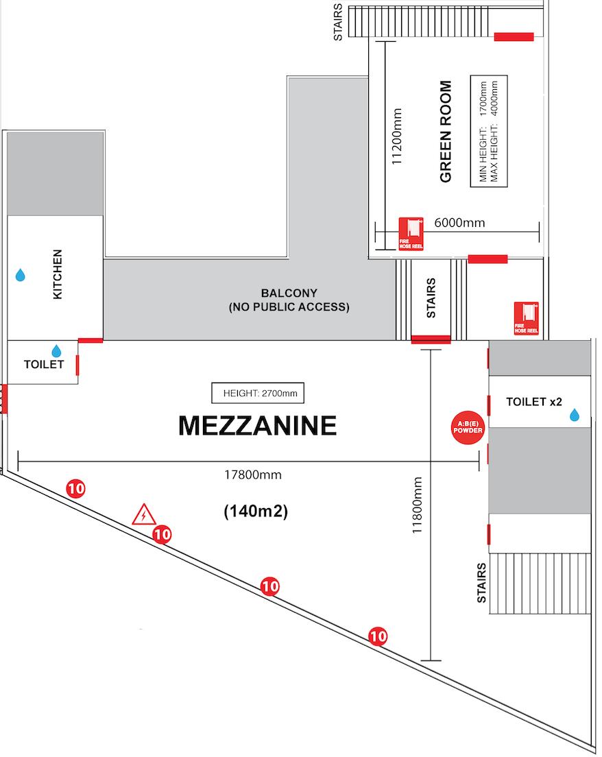 MEZZANINE   + GREEN ROOM FLOORPLAN