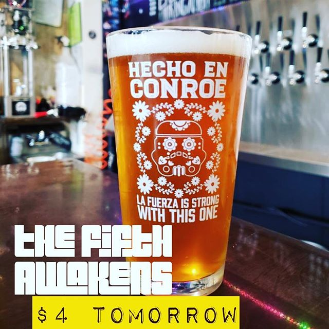 We know everybody is making today all about Star Wars. But not us. We're not everybody. So TOMORROW we will be tapping @southernstarbrewingco Hecho En Conroe and giving these awesome glasses away with it. Starts at noon. Limited glassware. #craftnotcrap #thefifthawakens