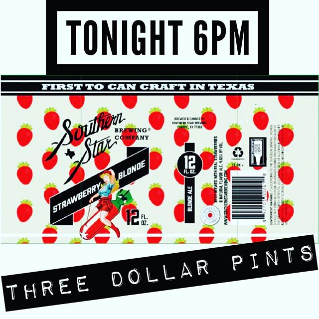 Monday's suck. Three dollar pints don't. Come try @southernstarbrewingco newest offering for only 300 pennies. @whiskeyjenschke will be there to tell you all about it, plus swag and high fives. #craftnotcrap #threedollarbillyall