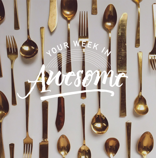 Gold flatware available for rental from  Nimble Well