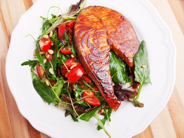 Grilled Salmon Cutlet With Mustard Vinaigrette