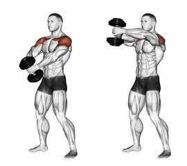 Two Arm Dumbbell Front Raises