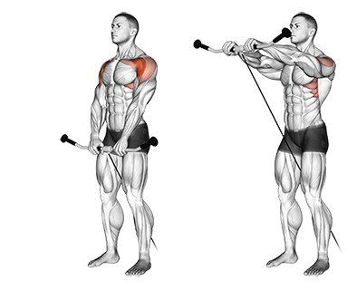 Standing Two Arm Cable Front Raises