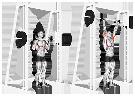 Standing Smith Machine Shoulder Press