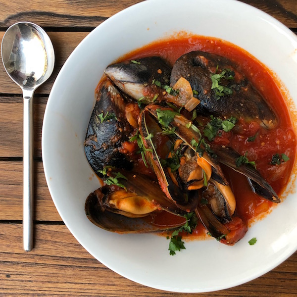 Tomato Mussels and Baked Whole Snapper