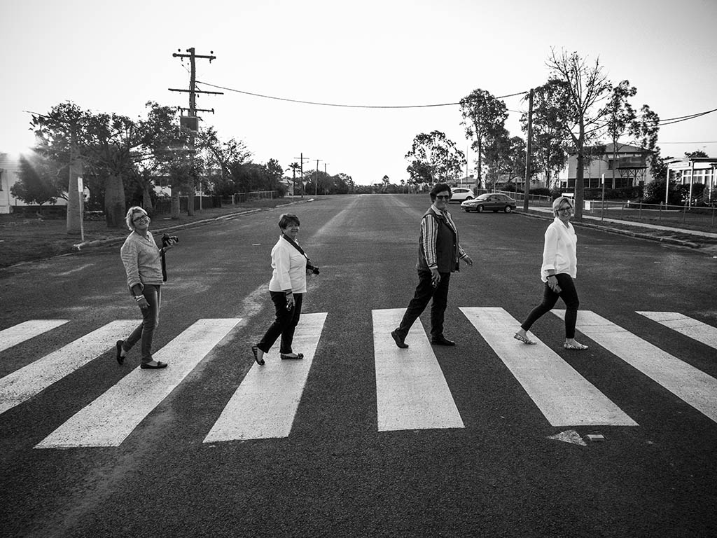Workshop participants (l to r) Tania, Michelle, Helen and Kym channeling The Beatles on Abbey Road, in Wandoan.